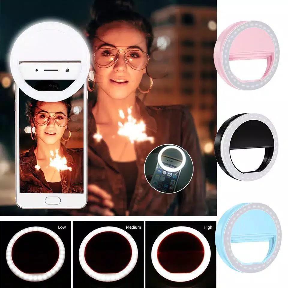 Ring fill light lampu selfie 3 mode 36 LED rechargeable tiktok live streaming ring clip