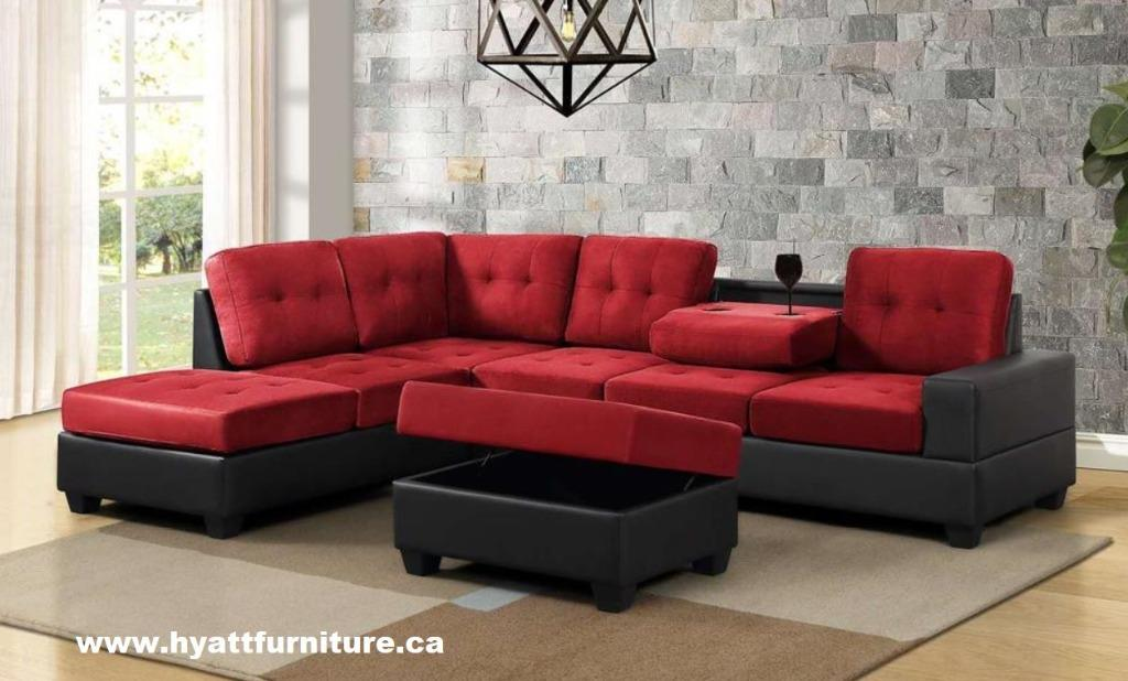 BRAND NEW REVERSIBLE FABRIC SECTIONAL SOFA
