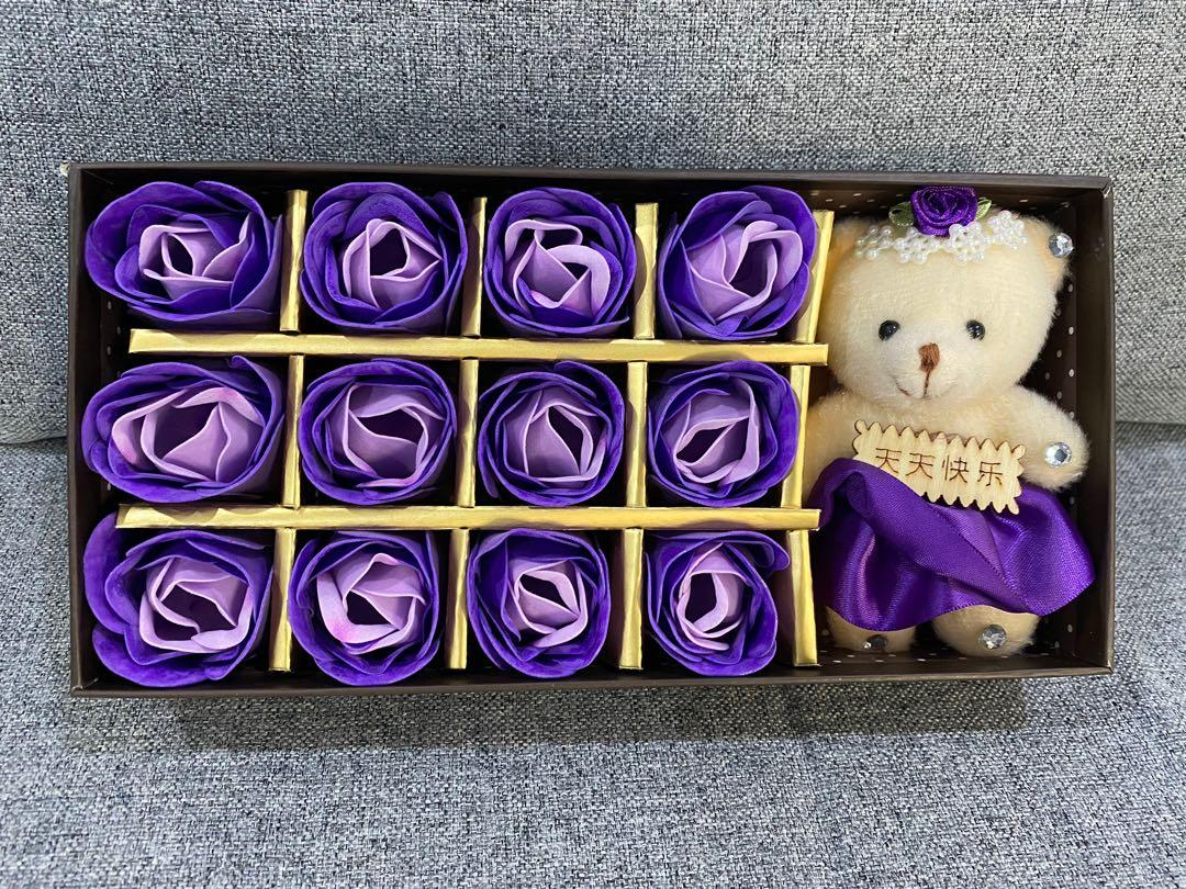 Gift Box - soap rose with teddy bear