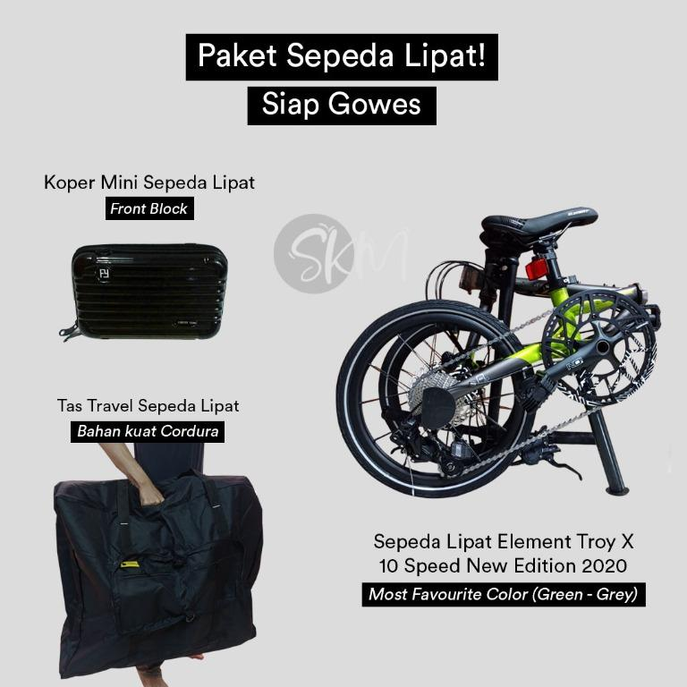 Paket Element Troy X 10 Speed Grey-Green New Edition 2020 - Tas Front Block Mini & Tas Travel Seli