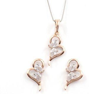 Rose gold  earrings and Pendant set
