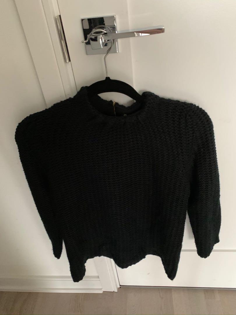 Zara Black Knit Sweater - Large