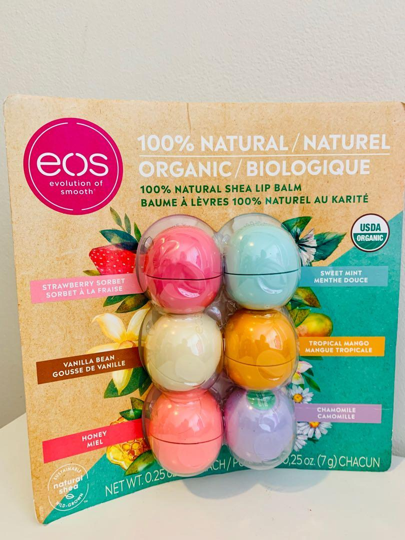 Brand new eos 100% natural Shea lip balm 6 pack set