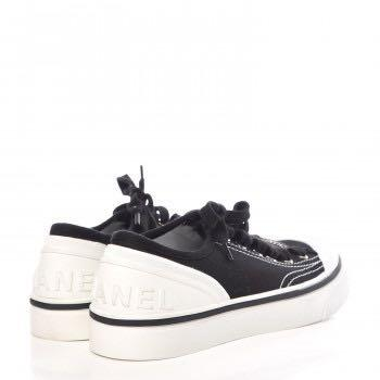 Chanel lace up cap toe sneakers
