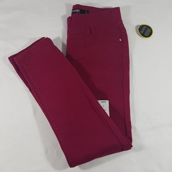 Children's Red Stretch Jegging straight Leg Pants Size: 6 - 16