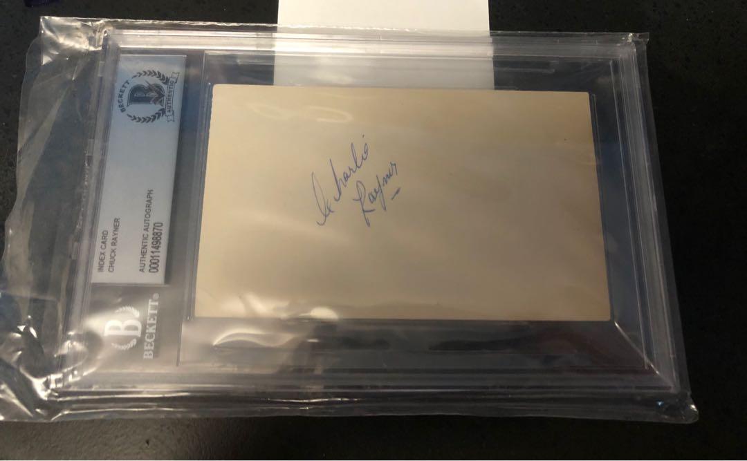Chuck Rayner Signed Autograph Index Card