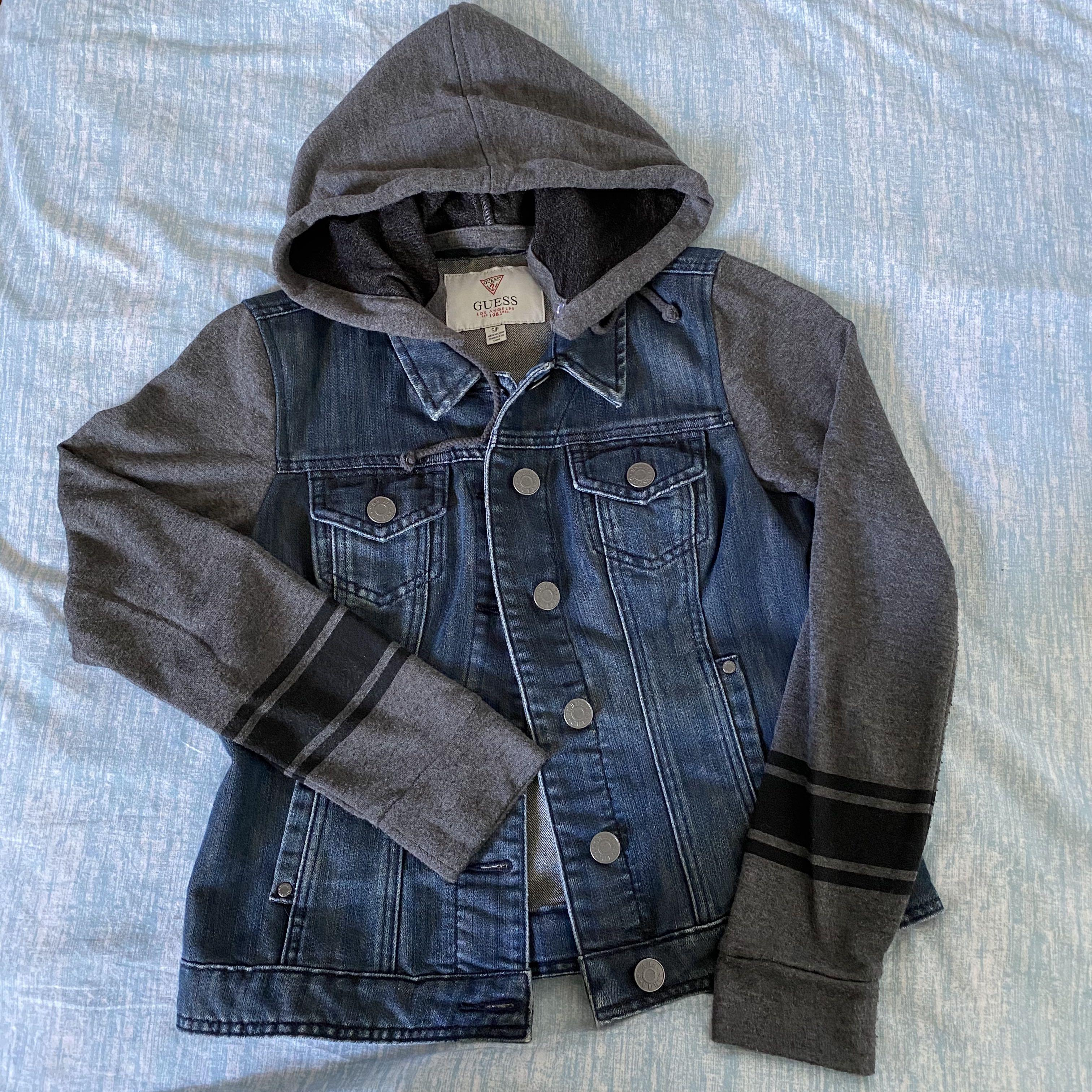 Guess denim sweater jacket with removable hood