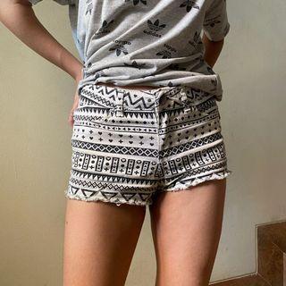 H&M White Denim Shorts Tribal