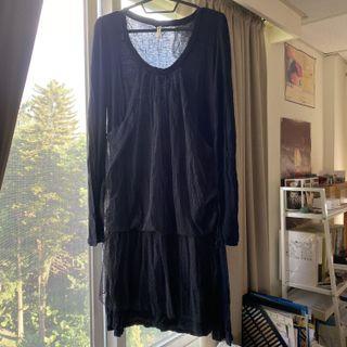 Mana嗎哪門市購入純棉黑色點點紗/蕾絲長袖秋冬洋裝