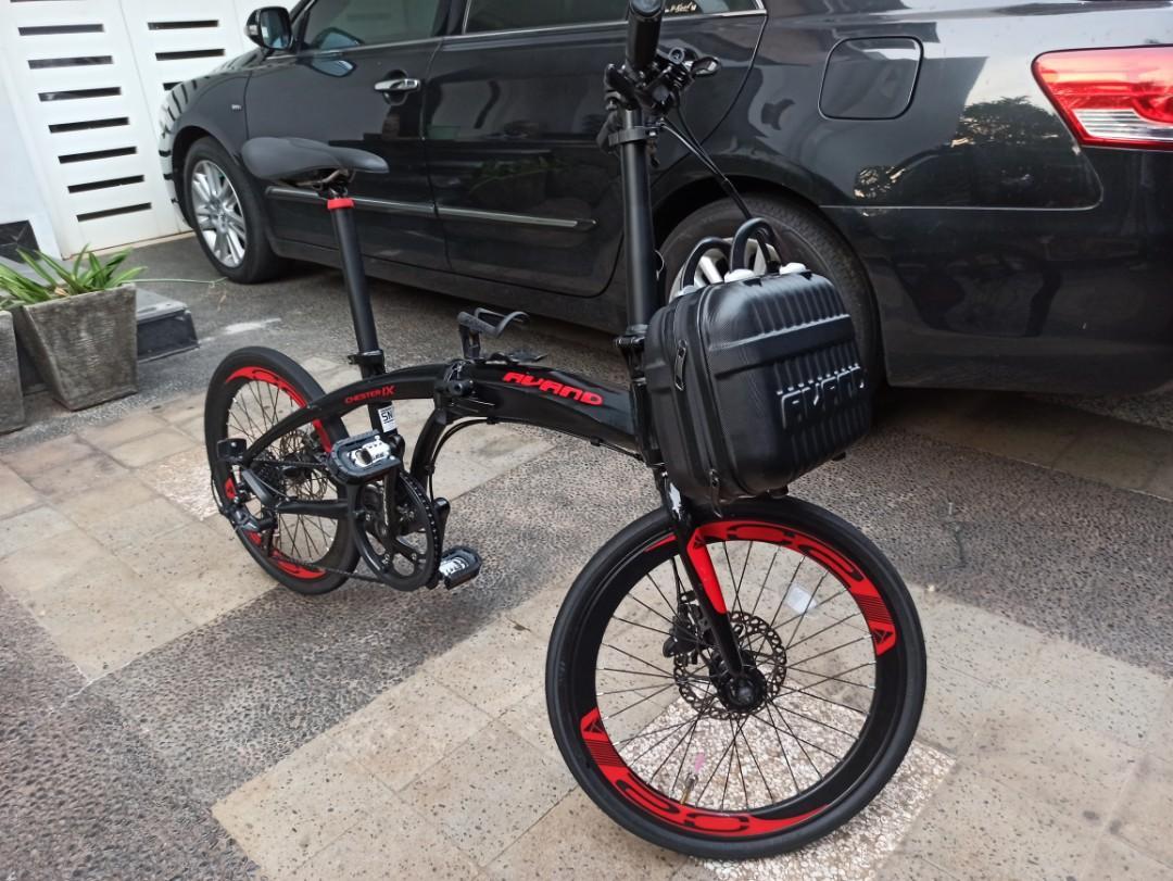 Sepeda Lipat: Avand Chester IX (9 Speed) Hitam Merah