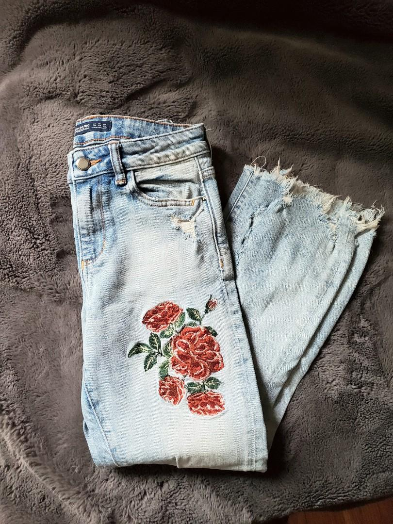 Zara embroidered cropped flare jeans