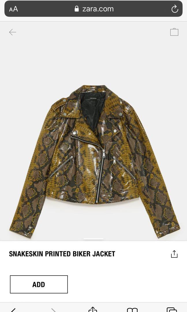 Zara snake skin printed biker jacket