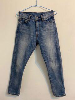 無印良品 MUJI LABO 日本素材棉混彈性錐形褲 23吋