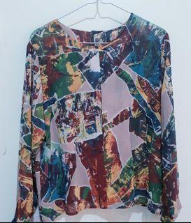 Abstract Chiffon Top ONLY 15k #MauIndomaret
