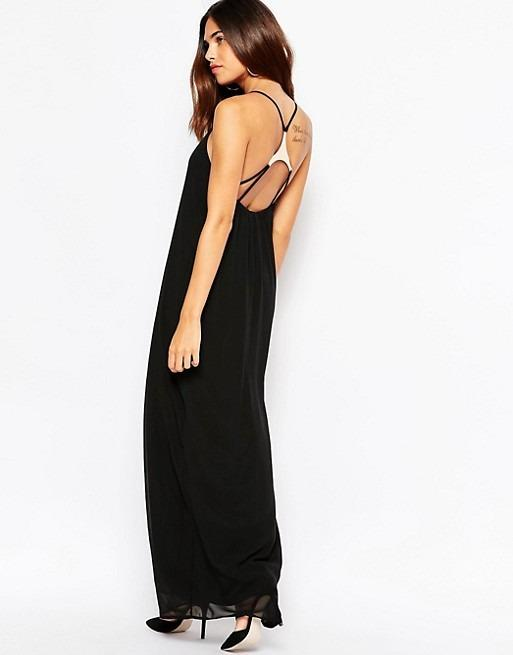 ASOS Oh My Love Maxi Dress with Strap Back Detail Black Size XS