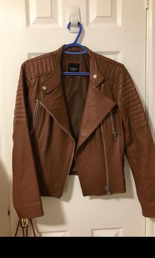 BARNEYS ORIGINAL - brown leather jacket, worn once