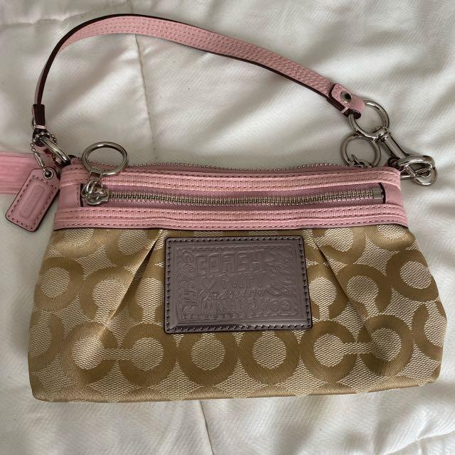 Coach Poppy Wristlet - pink and beige