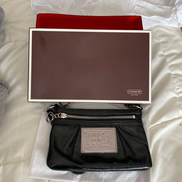 Coach Poppy Wristlet, with box and packaging