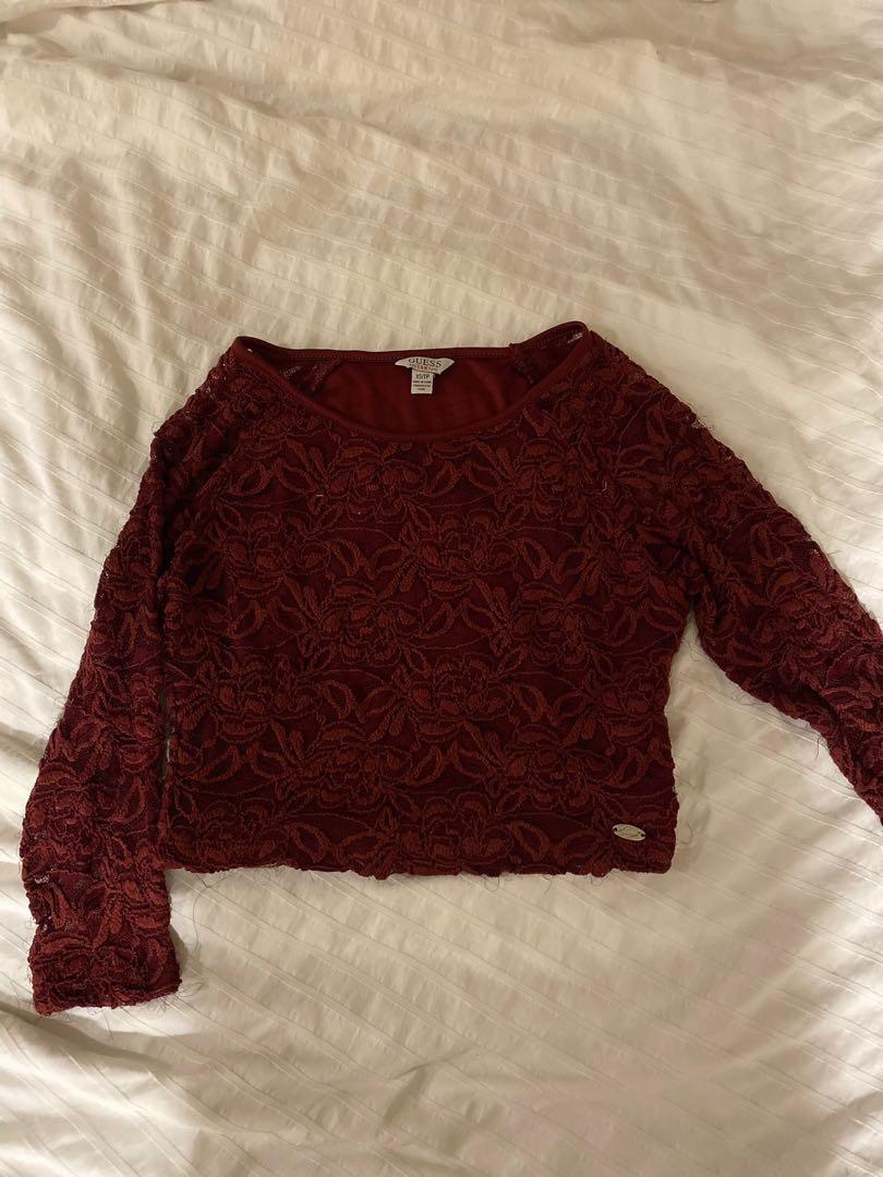 GUESS lace crop shirt