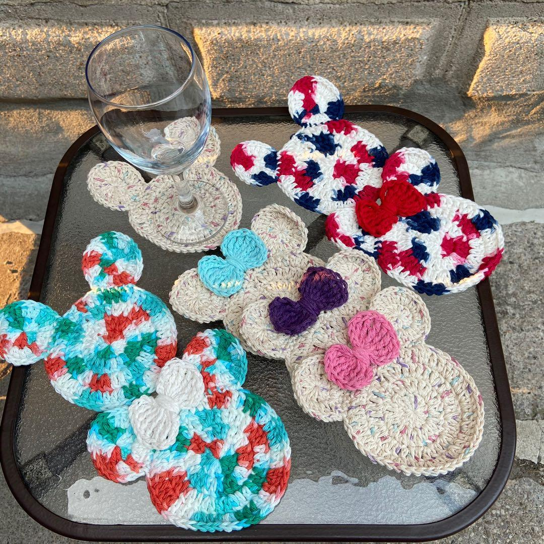 Handmade Crocheted Mickey & Minnie inspired coasters