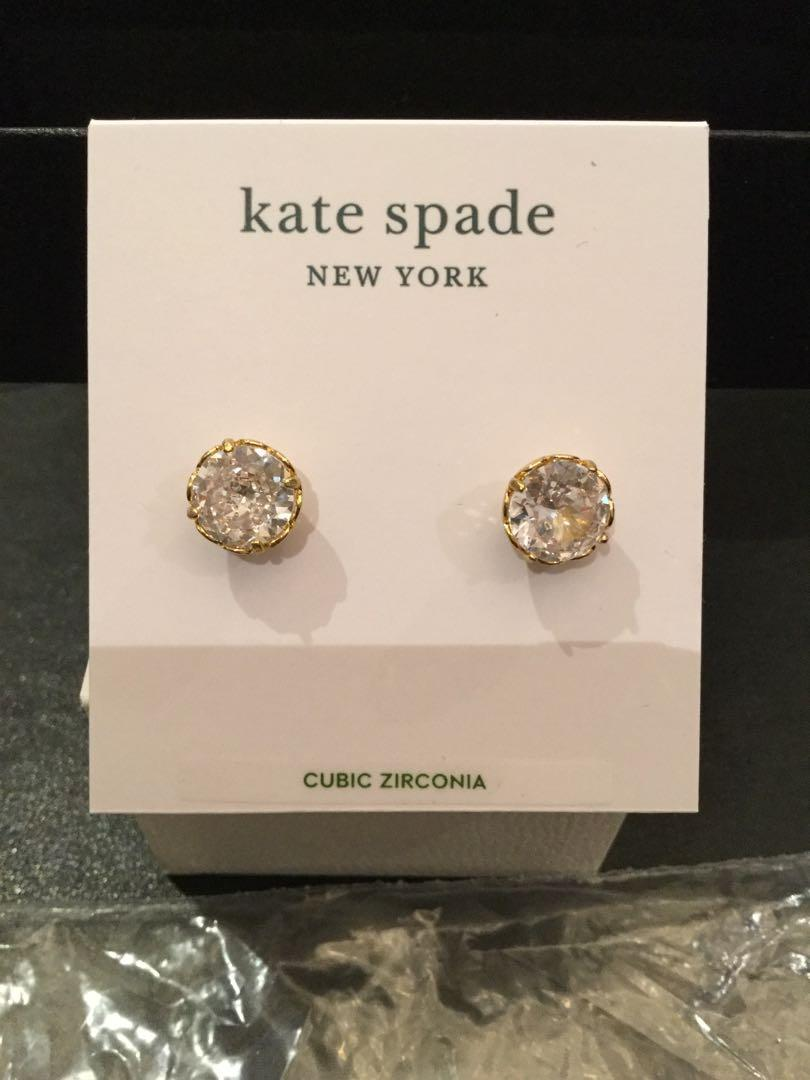 Kate Spade-Round That Sparkle clear &gold earrings
