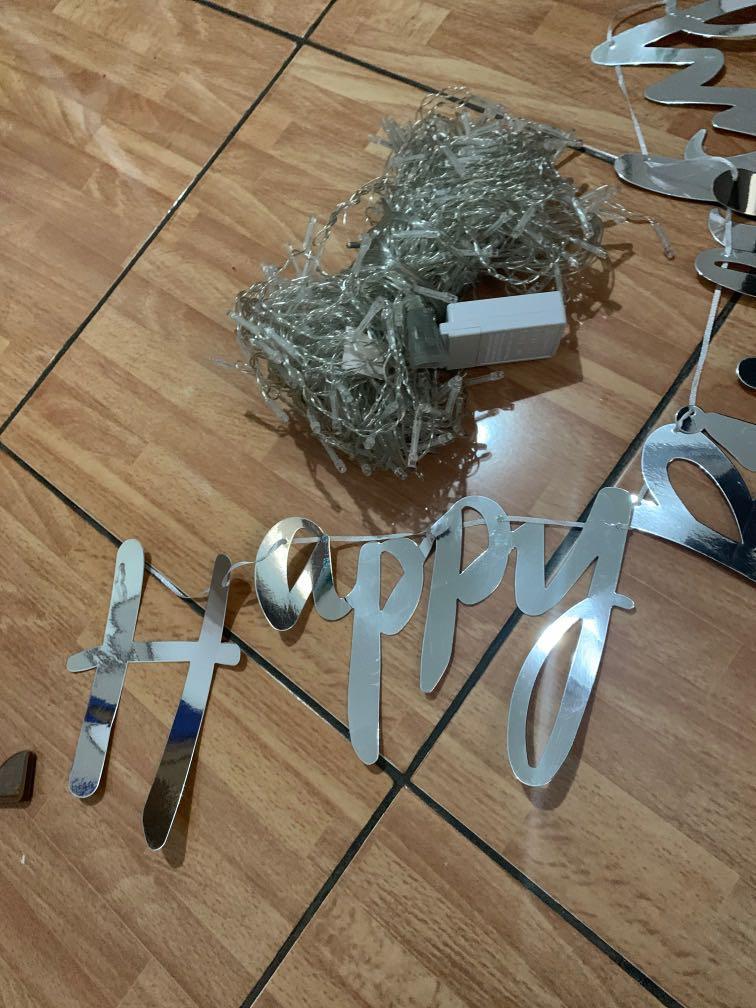 Lampu tirai untuk ultah anak include happy bdae