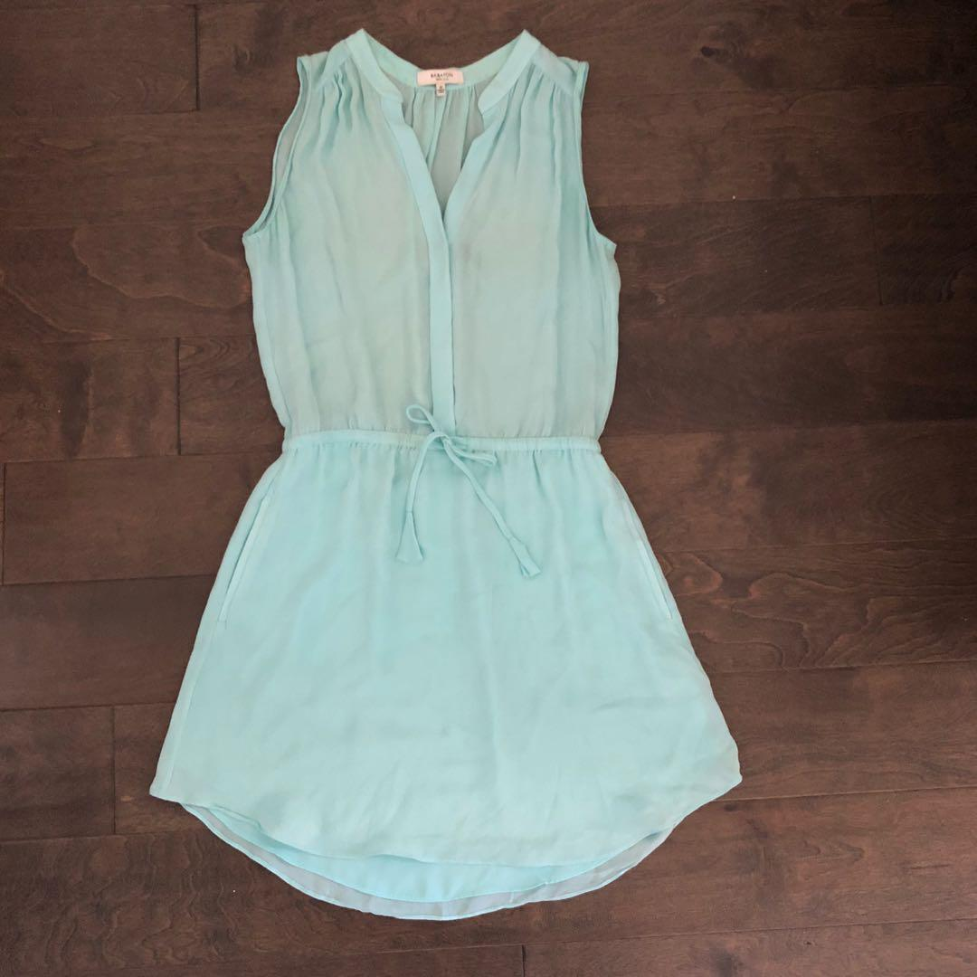 Light Blue Chiffon Silk Dress