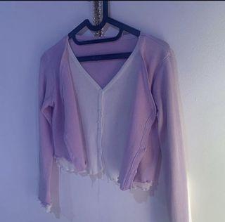 h&m pull&bear forever21 lilac cardigan / brandy melville knit hijab / outer weardarcy luaran ungu purple / jaket y2k cardigan crop