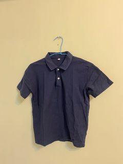 無印良品MUJI  有機棉節紗天竺寬版polo衫 深藍 140-150