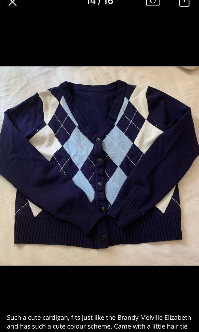 Navy blue argyle button up cardigan