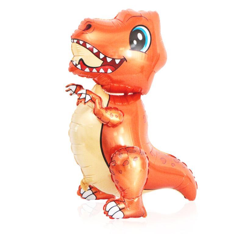 "30"" Orange T-Rex Standing Balloon"