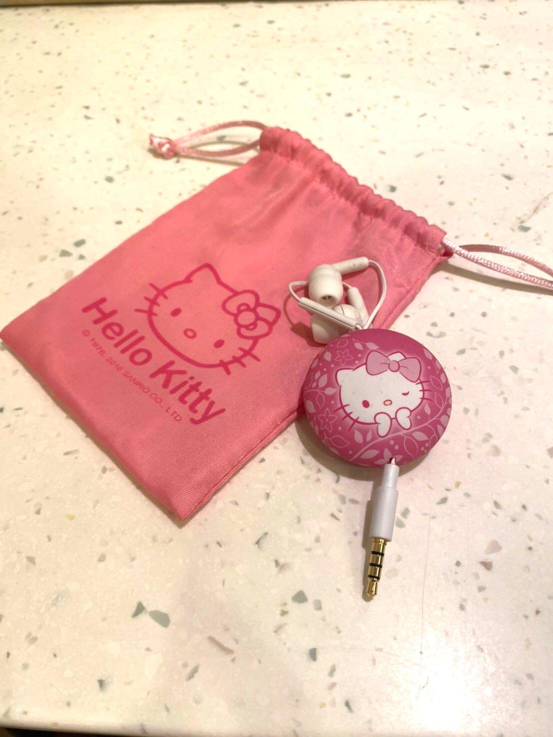 全新  正品 Hello Kitty 伸縮 語音 耳機