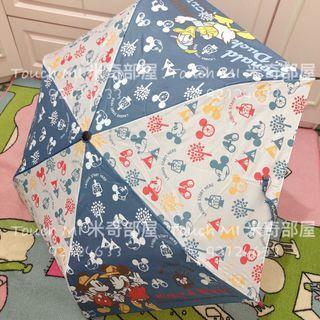 《日本直送》☔️現貨安心買☔️ Disney Mickey Minnie Donald 藍色 防反骨 三骨遮 縮骨遮 雨傘 雨遮 米奇 米妮 唐老鴨 anti reverse umbrella