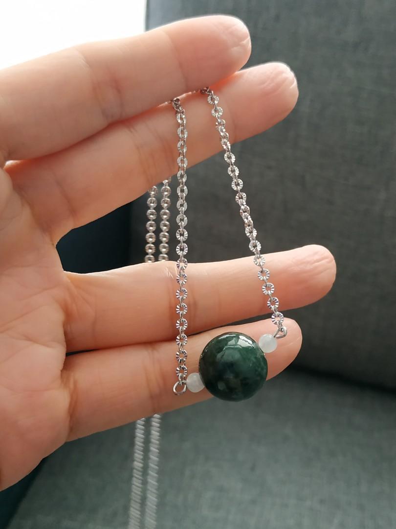 緬甸玉保A  大綠珠套組醫療鋼材設計款項鍊耳環
