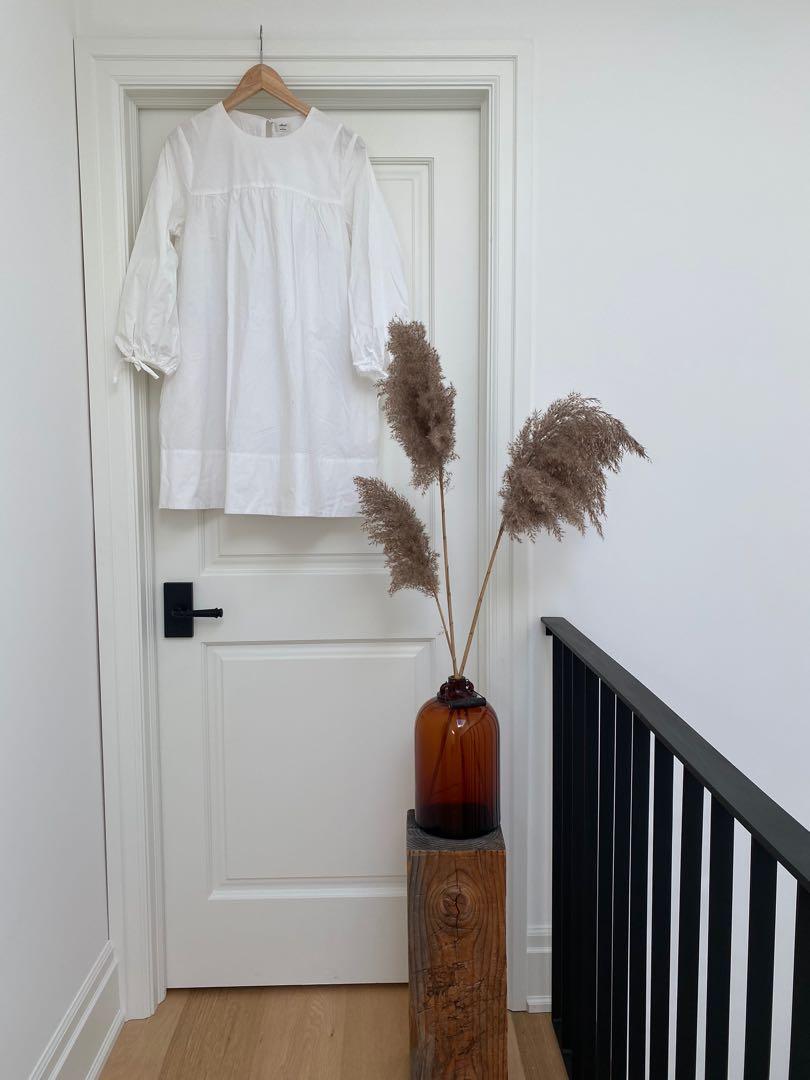Aritzia Wilfred Le Fou Romantic White Bell Sleeve Dress