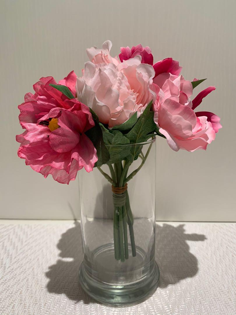Artificial Flowers Pink Gardening Flowers Bouquets On Carousell