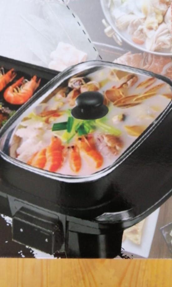 BBQ Grill 2in1 Panggangan Full Elektrik shabu2/Hot Pot & Korean Grill,🍎Bergaransi🍒