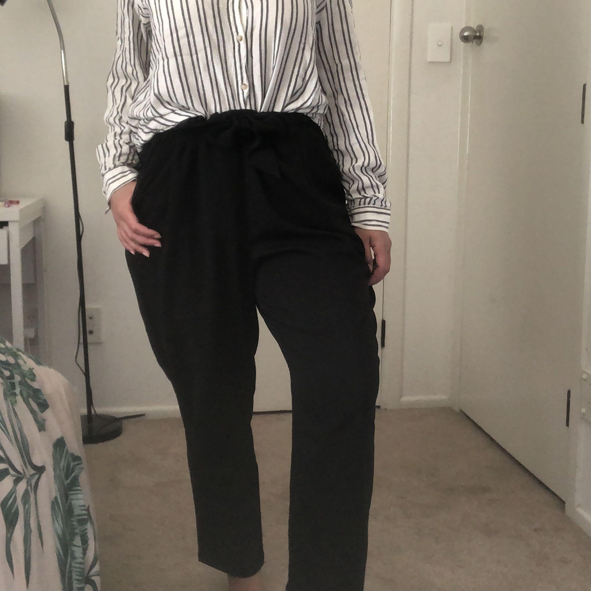 Black tie up pant