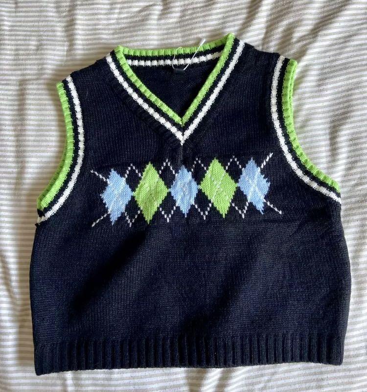 Blue and green argyle print cardigan sweater vest