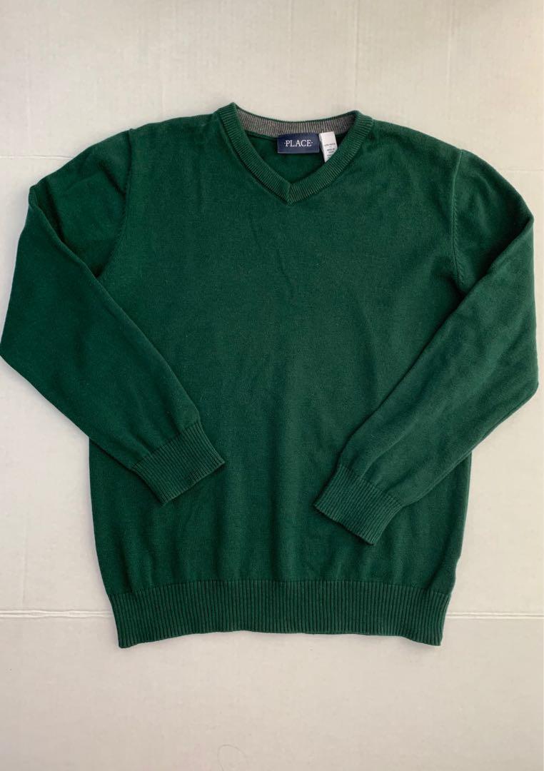 Dark green v neck cotton sweater