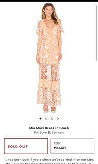 For Love and Lemons Mia Maxi Dress in Peach