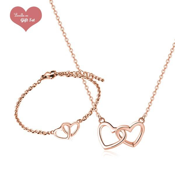 Gloria Interlock Love Rose Gold Heart Necklace Bracelet Set Edition Women S Fashion Jewellery Necklaces On Carousell
