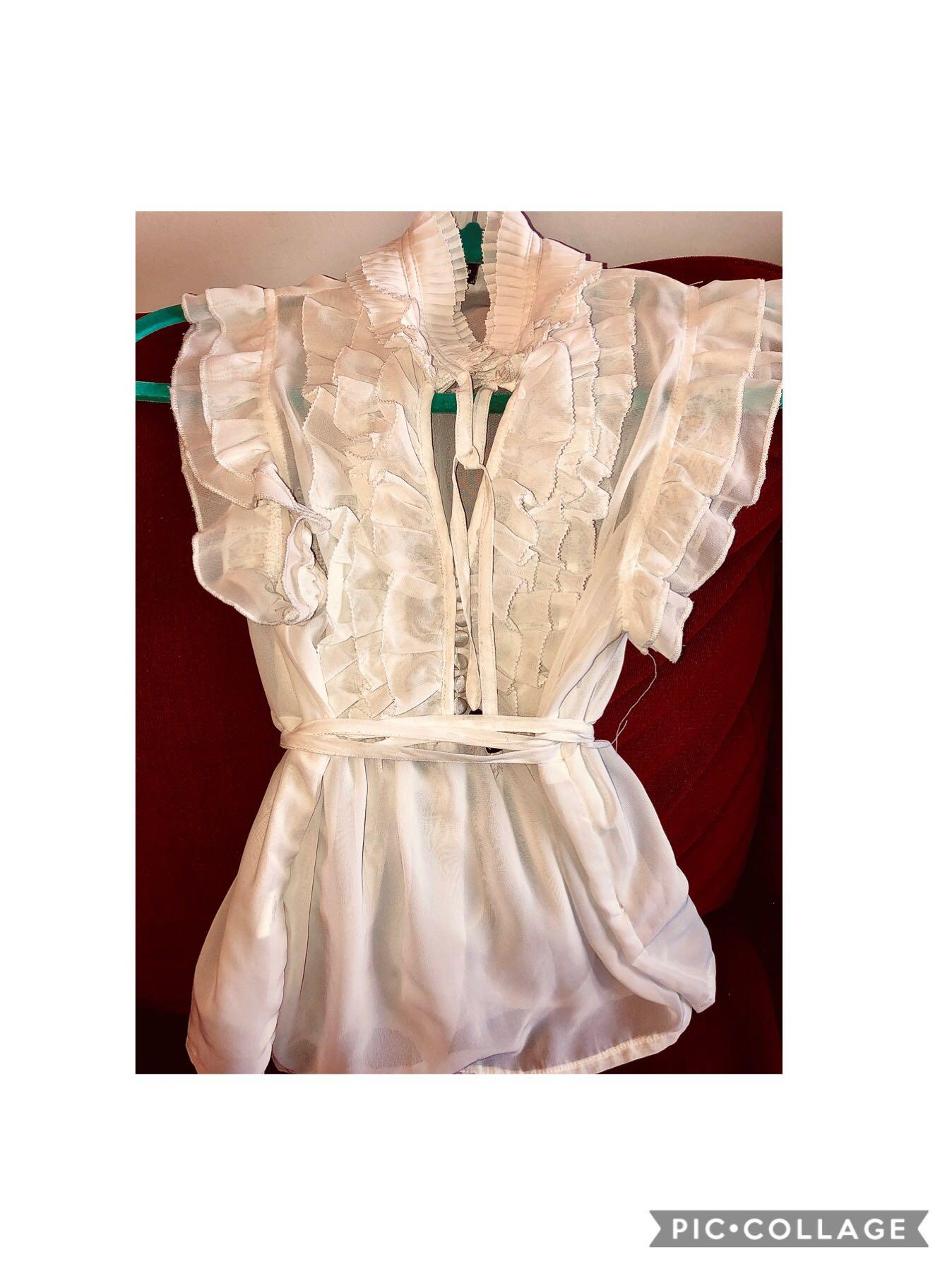 High Neck Open Ruffled Blouse Small