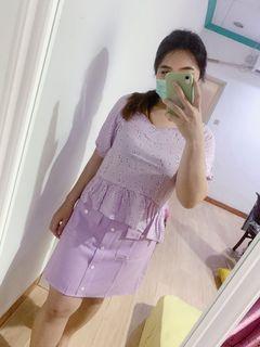Korean lilac blouse big size