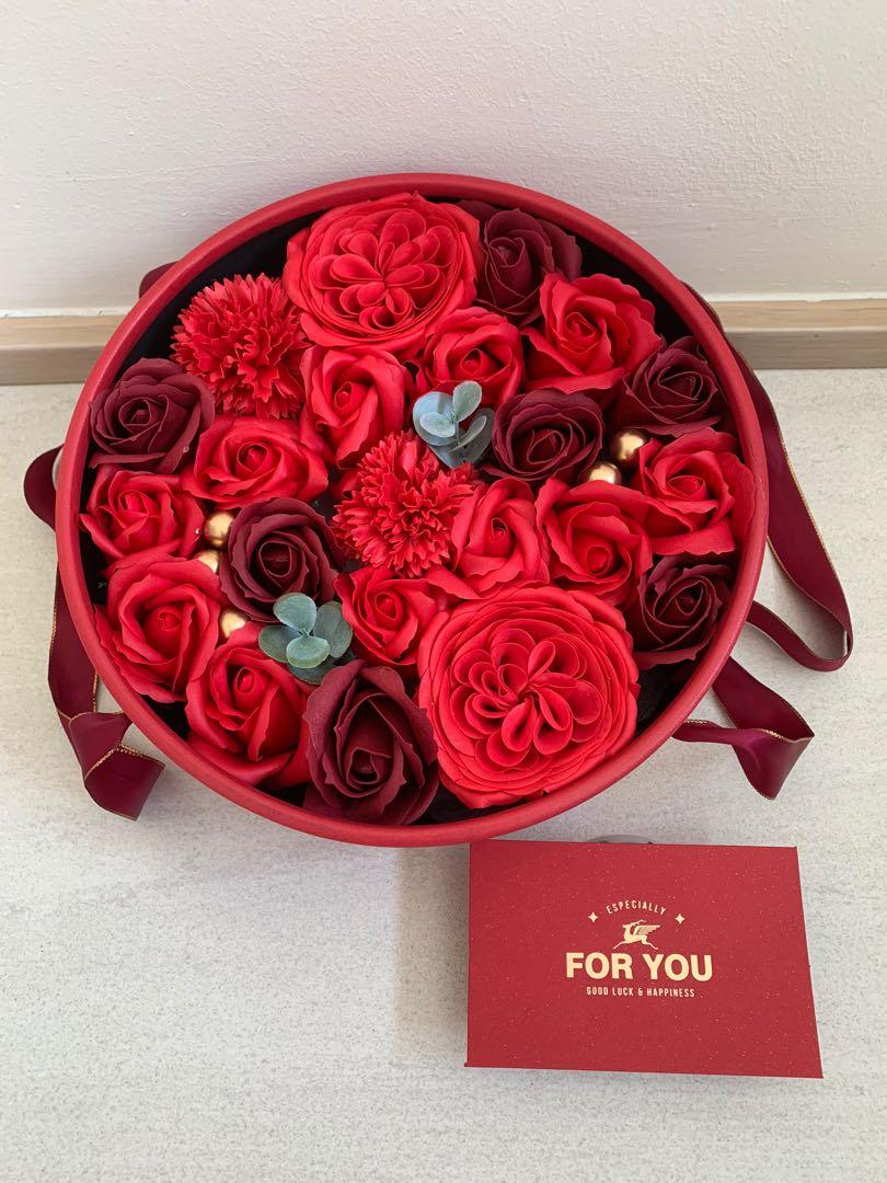 Flowers Box In Red Round Box With Balloons Gardening Flowers Bouquets On Carousell