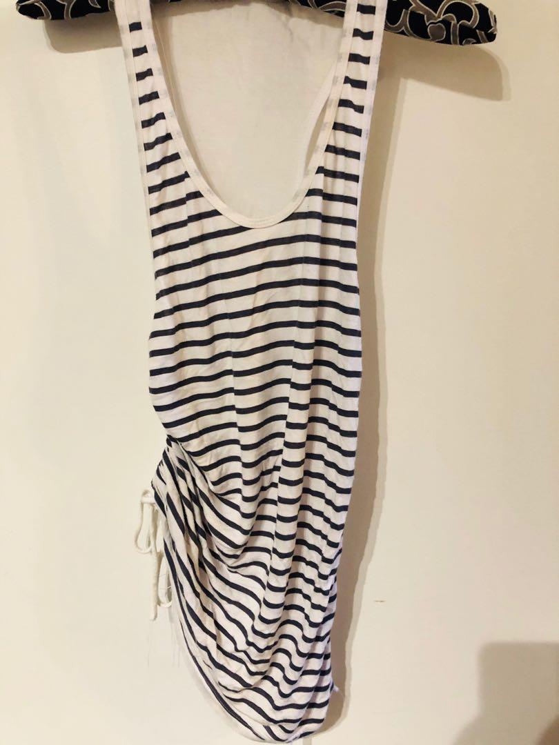 Sporty Pull Up Striped Tank