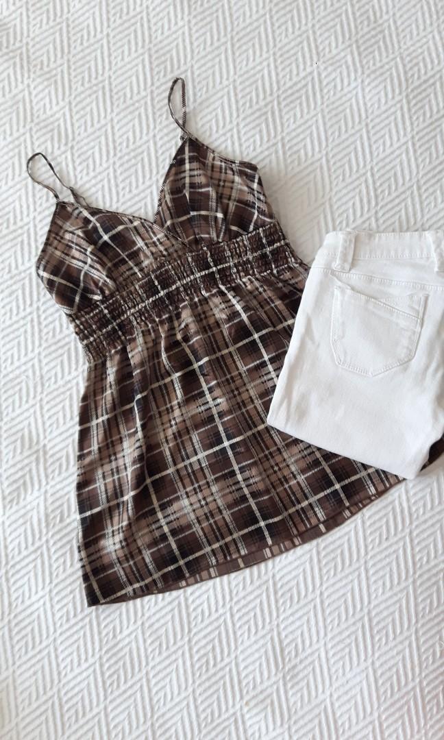 SUZY SHIER- Plaid brown/beige  top XS (fits S/M)