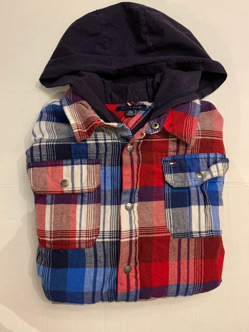 Tommy Hilfiger double layer hooded plaid shirt