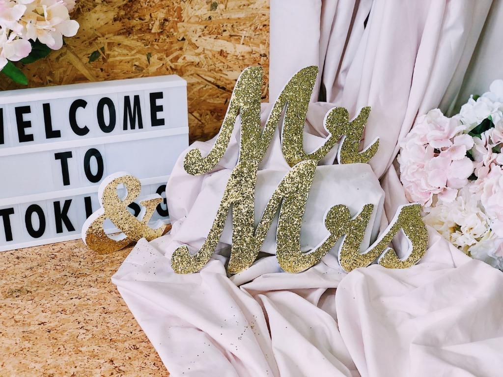 Mr & Mrs Glitter Wedding Signs