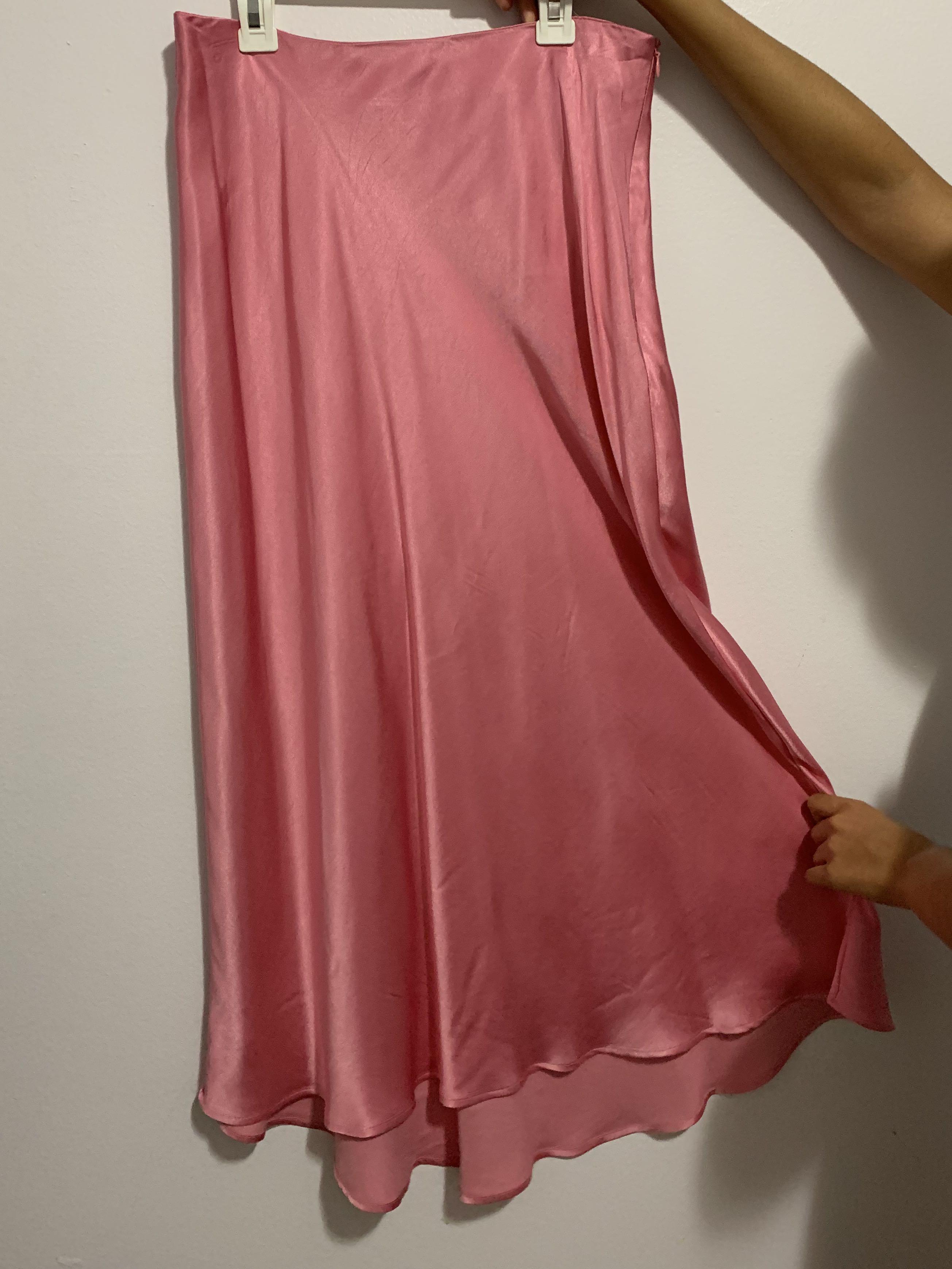 ZARA Pink Silk MIDI Skirt Size M